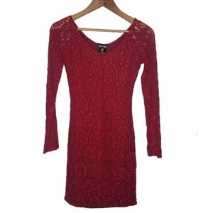 Wet Seal Formal Long Sleeve Fitted Lace Dress